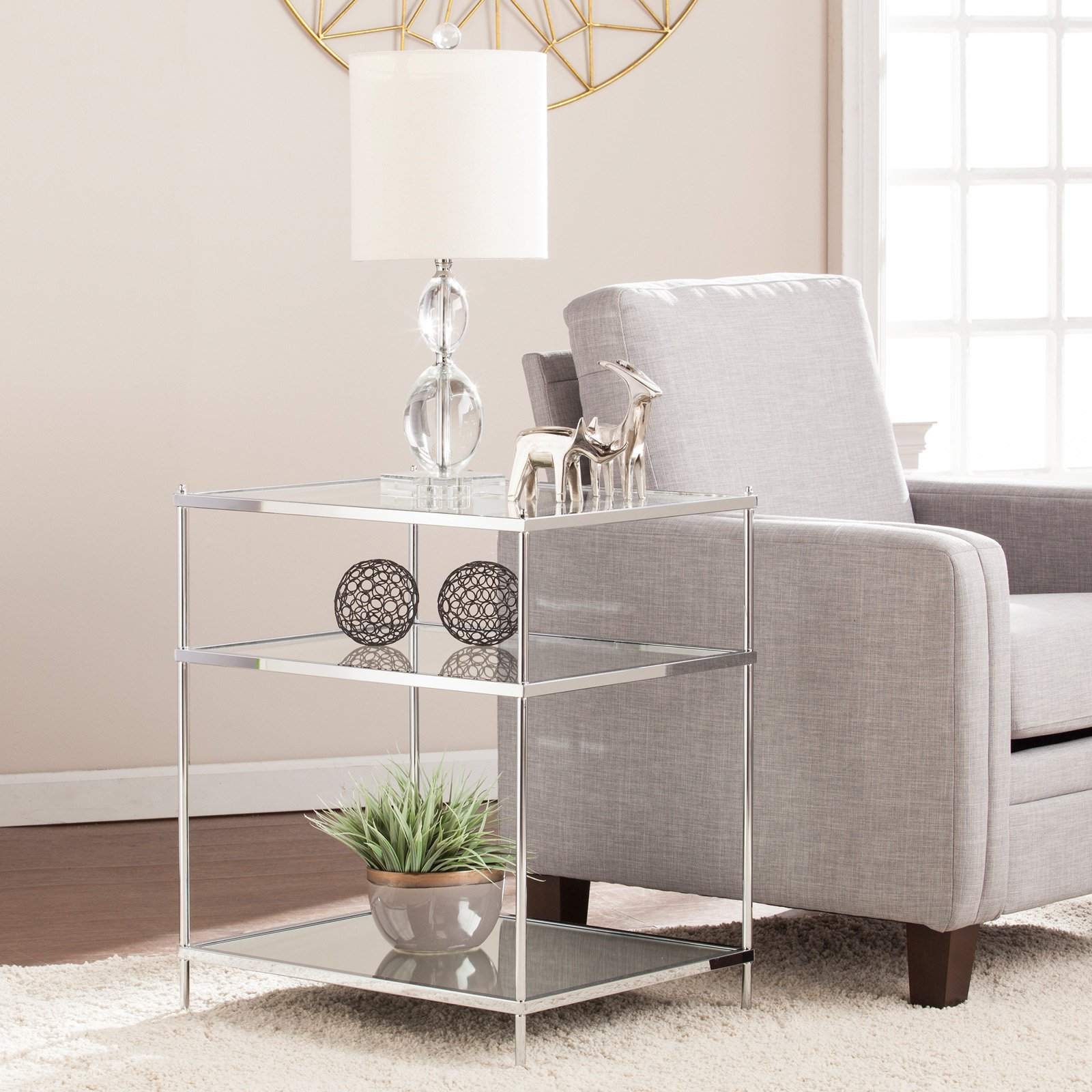 Southern Enterprises Knox Glam Mirrored Side Table - Chrome