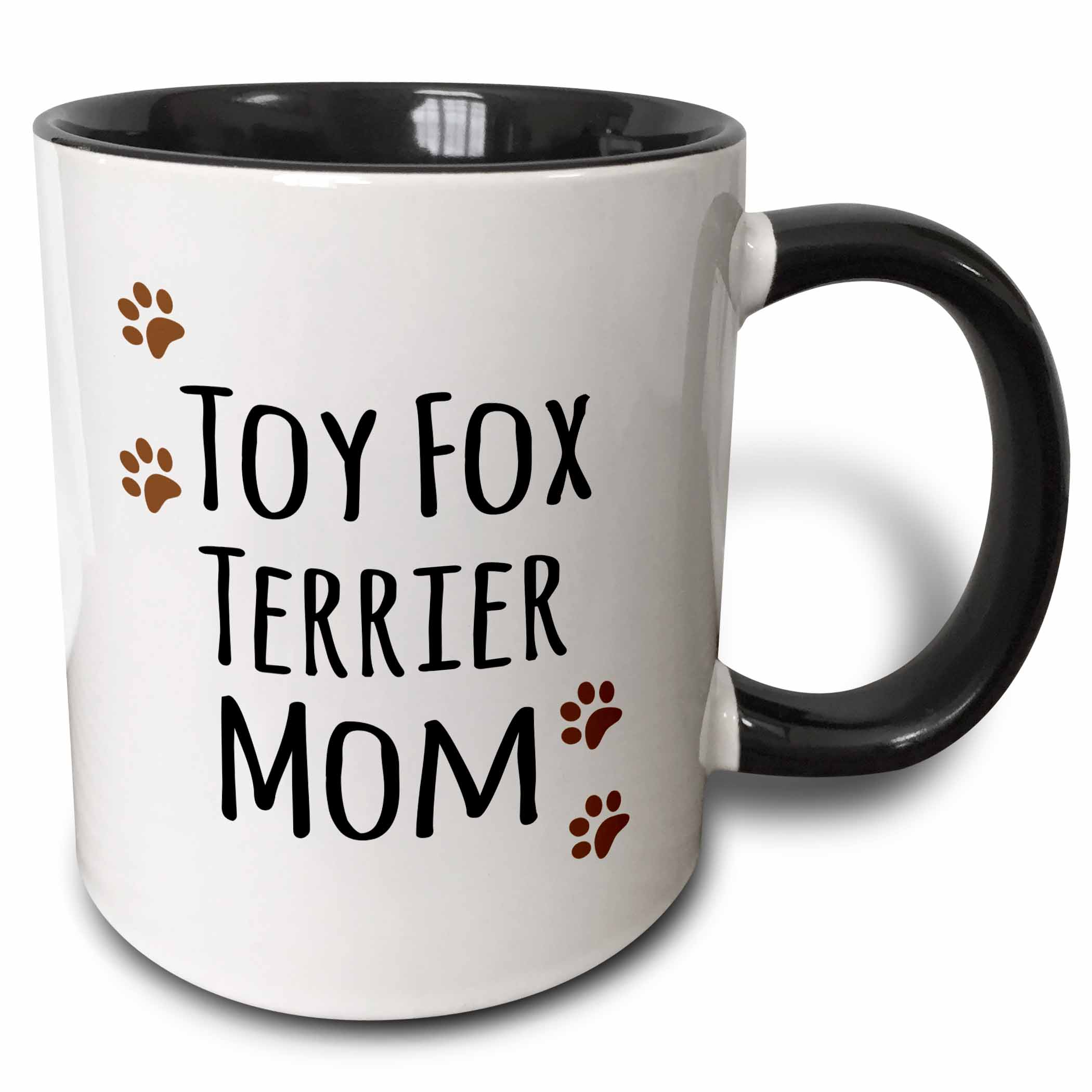 3dRose Toy Fox Terrier Dog Mom  -  Doggie by breed  -  brown paw prints  -  doggy lover  -  proud pet owner mama, Two Tone Black Mug, 11oz