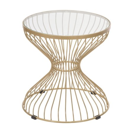 Modern Deco Contemporary Round Sofa Side End Table, Gold, Tempered Glass Steel ()