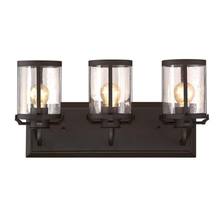 3 Light Wall Fixture Oil Rubbed Bronze Finish with Clear Seeded Glass