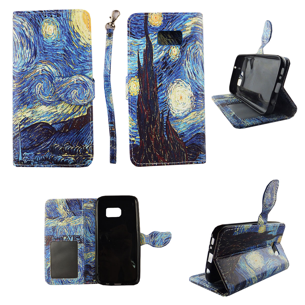 Starry Night Wallet Folio Case for Samsung Galaxy S7 Fashion Flip PU Leather Cover Card Cash Slots & Stand