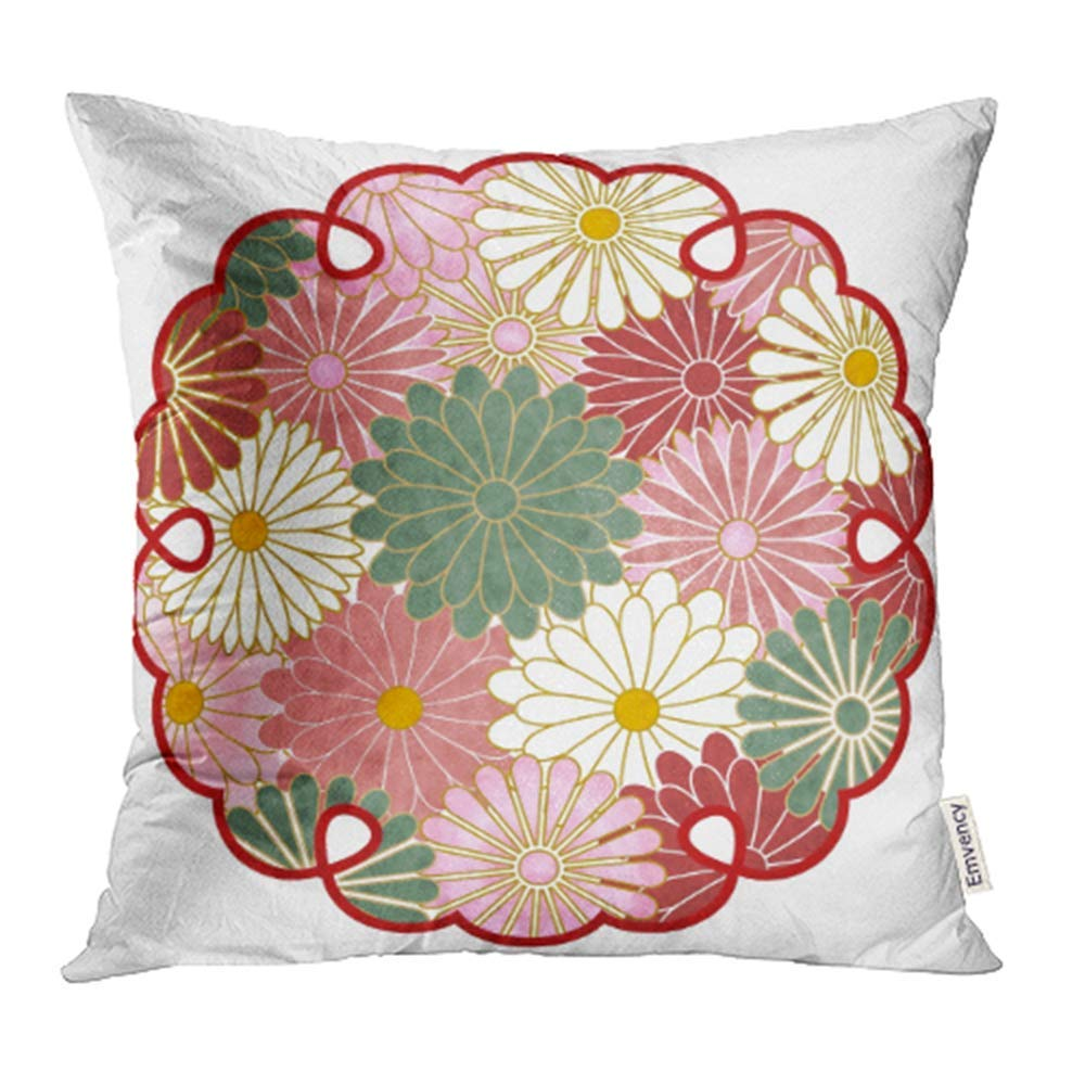 USART Colorful Autumn Chrysanthemum Pattern Japanese Early Autumn Flower Gold Japan Pillowcase Cushion Cover 18x18 inch