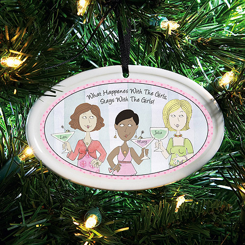 "Personalized ""What Happens with the Girls"" Ornament"