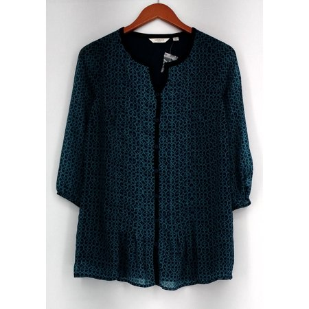 Liz Claiborne New York Top 2 3/4 Sleeve Printed Button Down Tunic Blue A257194 ()
