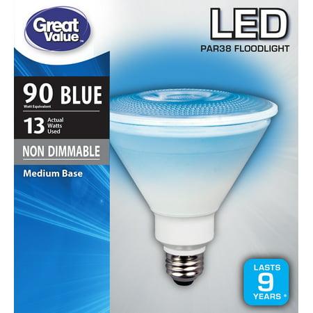 Blue Led Tube (Great Value LED P38 Floodlight Light Bulb, 13W (90W Equivalent),)