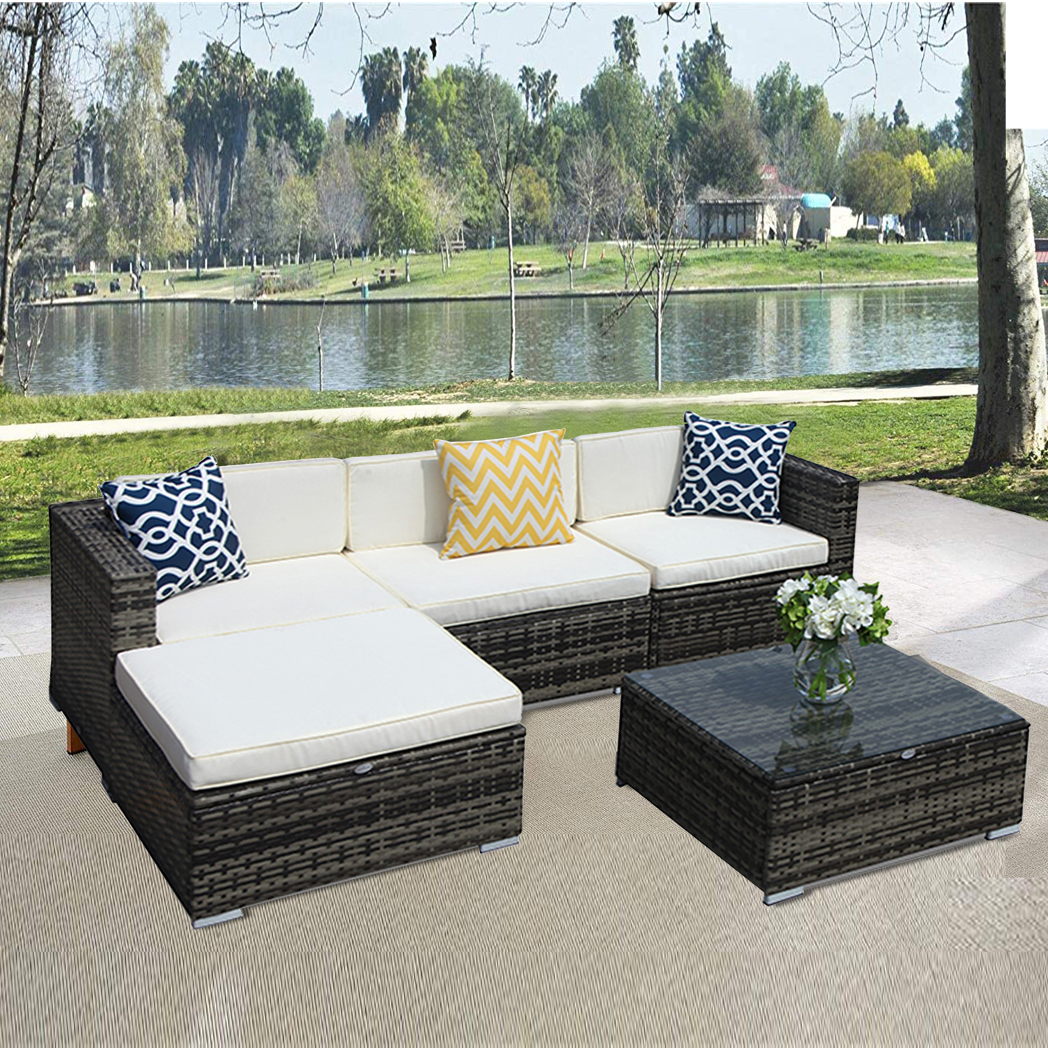 5pcs Patio Outdoor PE Wicker Rattan Sectional Furniture Set with Cream White Seat and Back Cushions, Steel Frame, Gray
