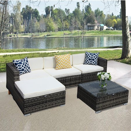 5pcs Patio Outdoor Pe Wicker Rattan Sectional Furniture Set With Cream White Seat And Back Cushions Blue Pillows Steel Frame Gray