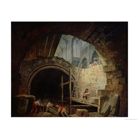 Plundering the Royal Vaults at St. Denis in October 1793 Print Wall Art By Hubert Robert