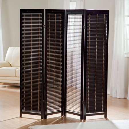 - Tranquility Wooden 4 Panel Shutter Screen Room Divider in Black