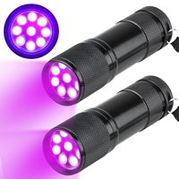 2-pack UV Flashlight Black Light, 12 LED 395 nM Ultraviolet Blacklight Detector for Dog Urine, Pet Stains Detector, Bed Bug, Hotel Room Inspection, Hunting Scorpions and Minerals