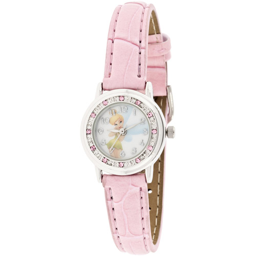 Disney Women's Tinkerbell Glitzy Pink Watch, Croco Strap