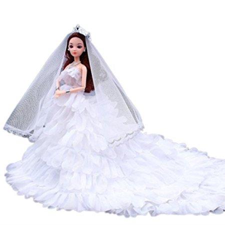 963656633 Digood For American Barbie Girl Doll Cute Princess Wedding Party Gown Tutu  Dress Clothes White - Walmart.com