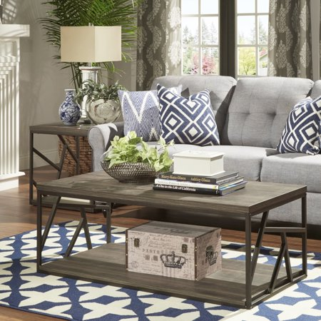 INSPIRE Q Lincoln Metal Contemporary Distressed Wood Coffee Table Or - Distressed wood and metal coffee table