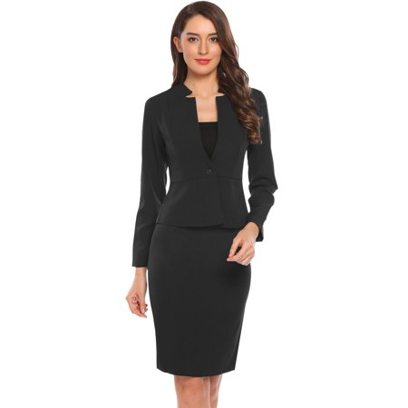 Women's Long Sleeve Slim One Button Bla zer OL Work Party Pencil Dress Suit HFON - Spandex Suit Party City