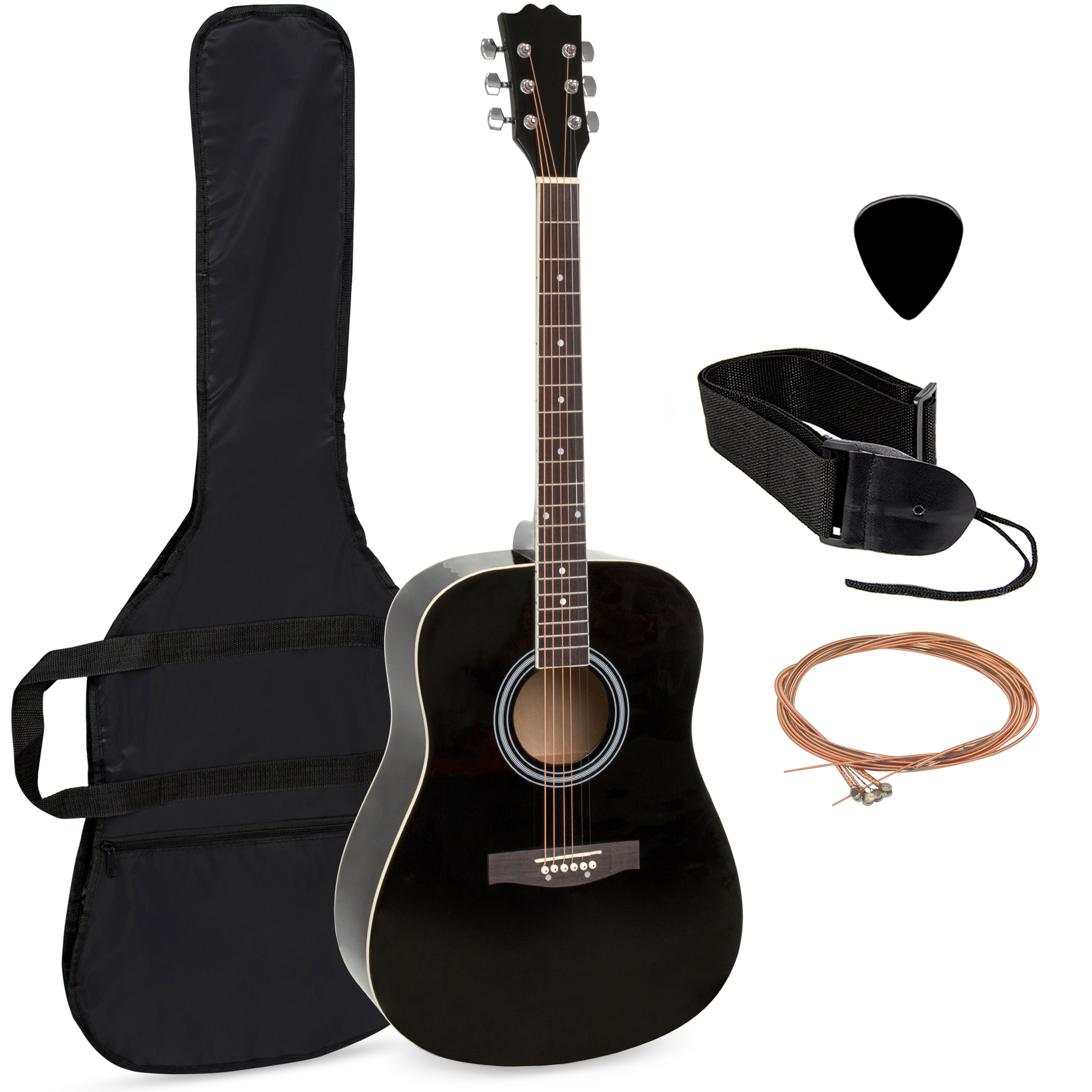 "Best Choice Products 41"" Acoustic Guitar Natural Includes Guitar Case, Strap (Black) by"