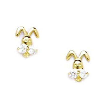 14k Yellow Gold Cubic Zirconia Bunny Rabbit Shaped Screw-Back Earrings - Measures 7x6mm 14k Yellow Gold Bunny