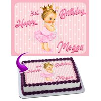 "Baby Girl Princess Ruffle Pants Edible Cake Image Topper Personalized Picture 1/4 Sheet (8""x10.5"")"