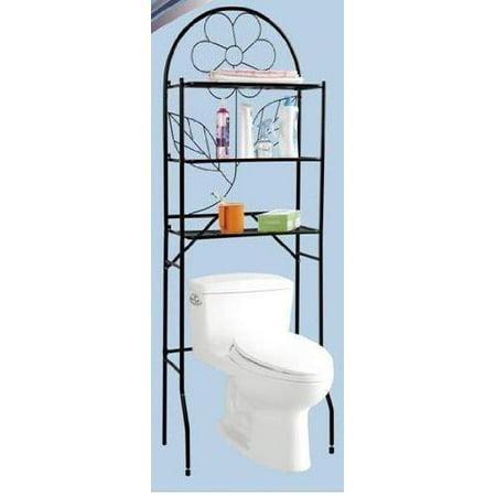Over The Toilet Bathroom Space Saver, 3 Shelf Etagere, Black