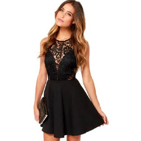 Women Round Neck Lace Decorated Short Length Sexy Skirt Dress Black