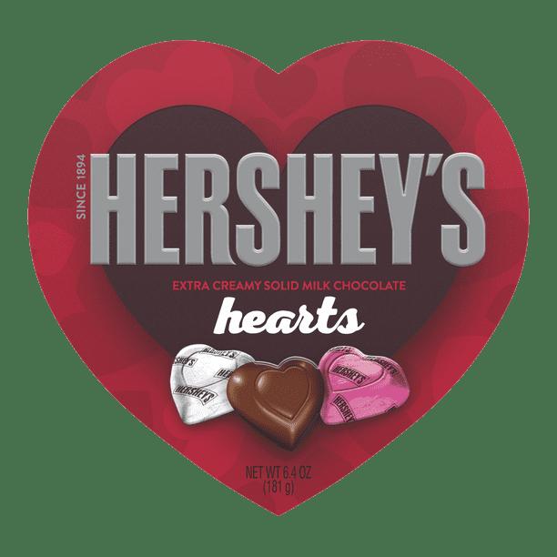 Hershey S Extra Creamy Solid Milk Chocolate Hearts Candy Valentine S Day Gift 6 4 Oz Heart Box Walmart Com Walmart Com
