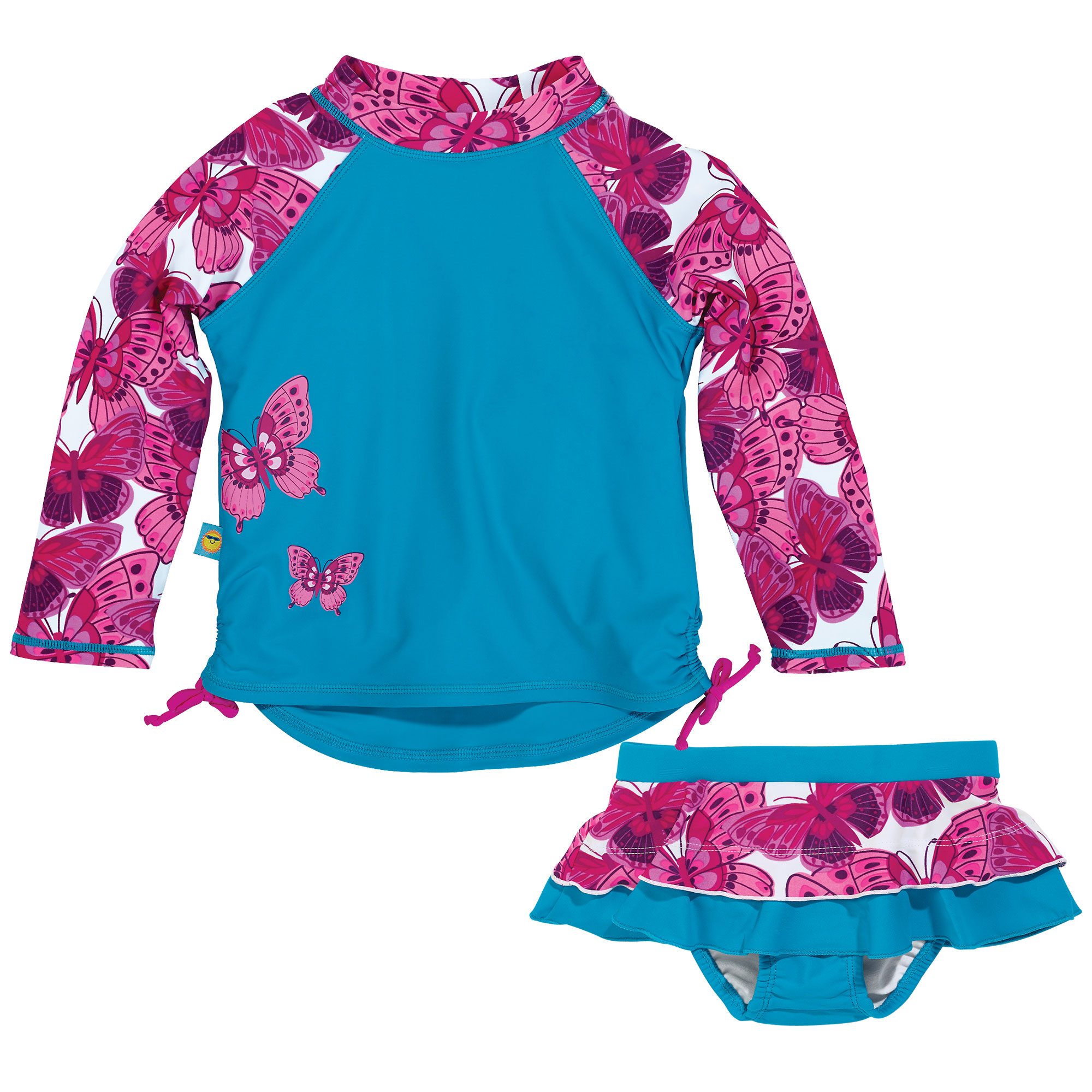 Sun Smarties Baby Girl Swim Diaper Skirt and Rashguard - Blue with Pink Butterflies - 2 Piece Swimsuit