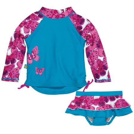 Sun Smarties Baby Girl Swim Diaper Skirt and Rashguard - Blue with Pink Butterflies - 2 Piece Swimsuit