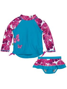 faa47322dd Product Image Sun Smarties Baby Girl Swim Diaper Skirt and Rashguard - Blue  with Pink Butterflies - 2