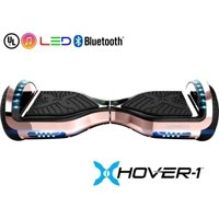 Hover-1 Chrome Hoverboard W/ 6.5 Wheels. Built-In Bluetooth Speaker. LED Headlights & Ultrabright LED Wheel Lights, Built-In Rechargeable Lithium-Ion Battery W/ 4.5-Hour Max Charge Time- Blue