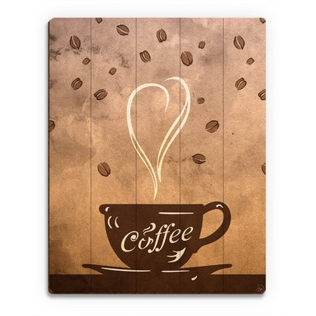 click wall art wood slats cup of coffee painting print on plaque