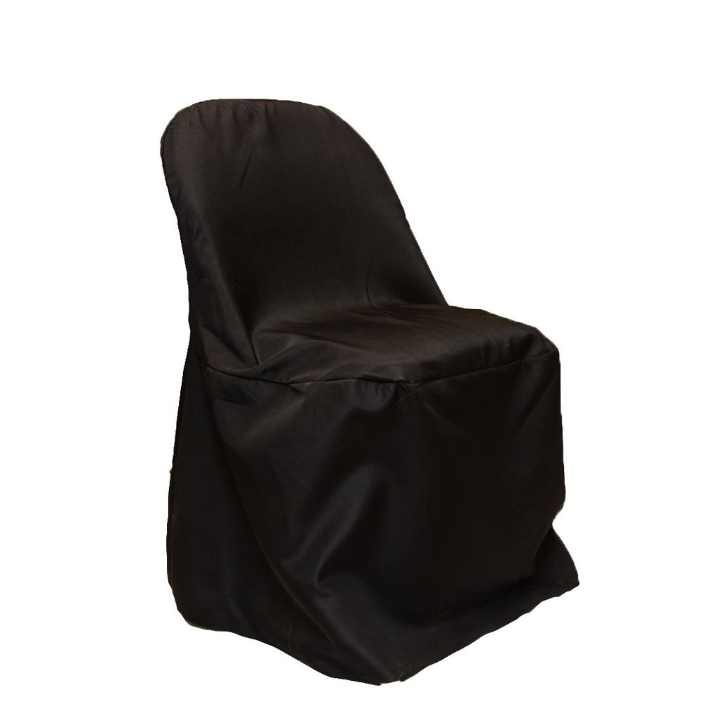 1 Pc Polyester Folding Chair Cover Black For Wedding Or Special Occasion Decor Walmart Com Walmart Com