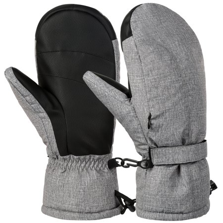 VBIGER Ski Mittens Warm Winter Mittens Waterproof Ski Snow Snowboard Gloves Black Cold Weather Mittens for Women