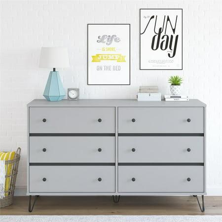 Novogratz Owen Mid-Century Modern 6 Drawer Dresser, Dove Gray