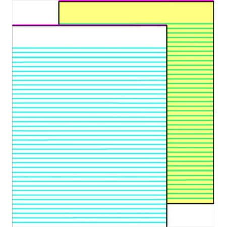School Smart 085271 Gummed Ruled Writing Pad, 8.5 x 11 In, 15 Lb, 50 Sheets, Sulphite Bond Paper, White, Pack 12