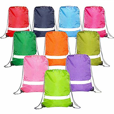 Drawstring Backpack Bags Reflective Bulk Pack, Promotional Sport Gym Sack Cinch Bags (Drawstring Backpack Bulk)