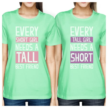 Tall Short Friend BFF Matching Shirts Womens Mint Teen Girls (Best Fits For Teens Girls)