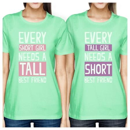 Tall Short Friend BFF Matching Shirts Womens Mint Teen Girls