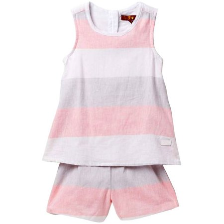 7 For All Mankind Youth Girls Striped Linen Romper Pink