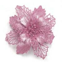 Gardeners 5pc Artificial Flowers For Decoration Glitter Poinsettia Fake Flowers DIY Home Wedding Decoration Flower Head Christmas