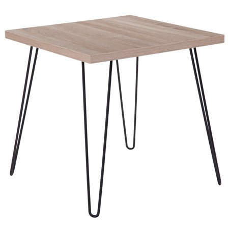 Collection Square Table (Flash Furniture Union Square Collection Sonoma Oak Wood Grain Finish End Table with Black Metal Legs)