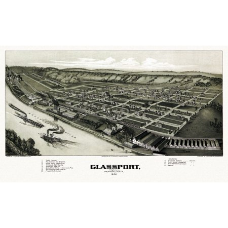 Old Map Of Glassport Pennsylvania 1902 Allegheny County Canvas Art     36 X 54