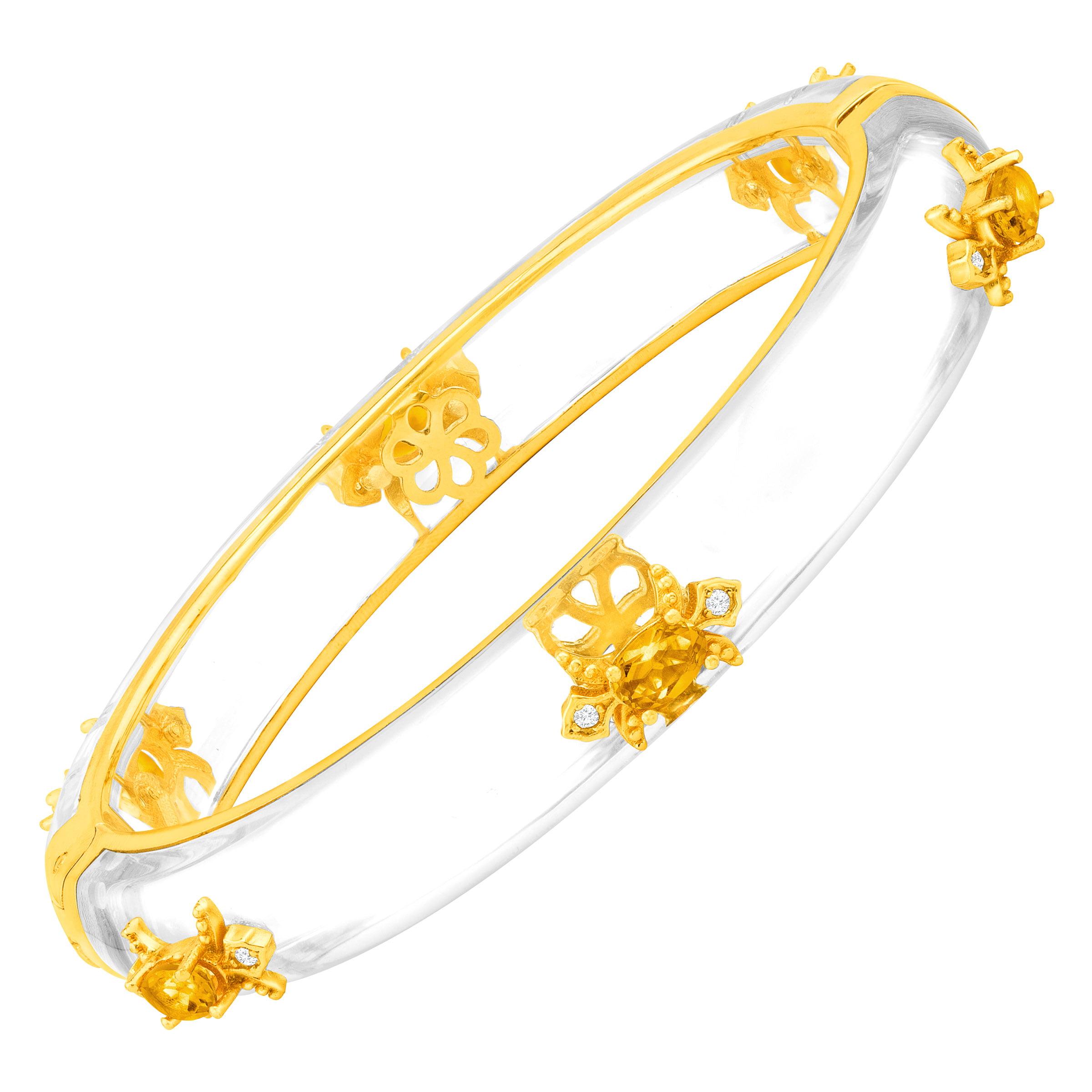 Cristina Sabatini Fleur De Lis Bangle Bracelet with Citrine in 18kt Gold-Plated Brass by Richline Group