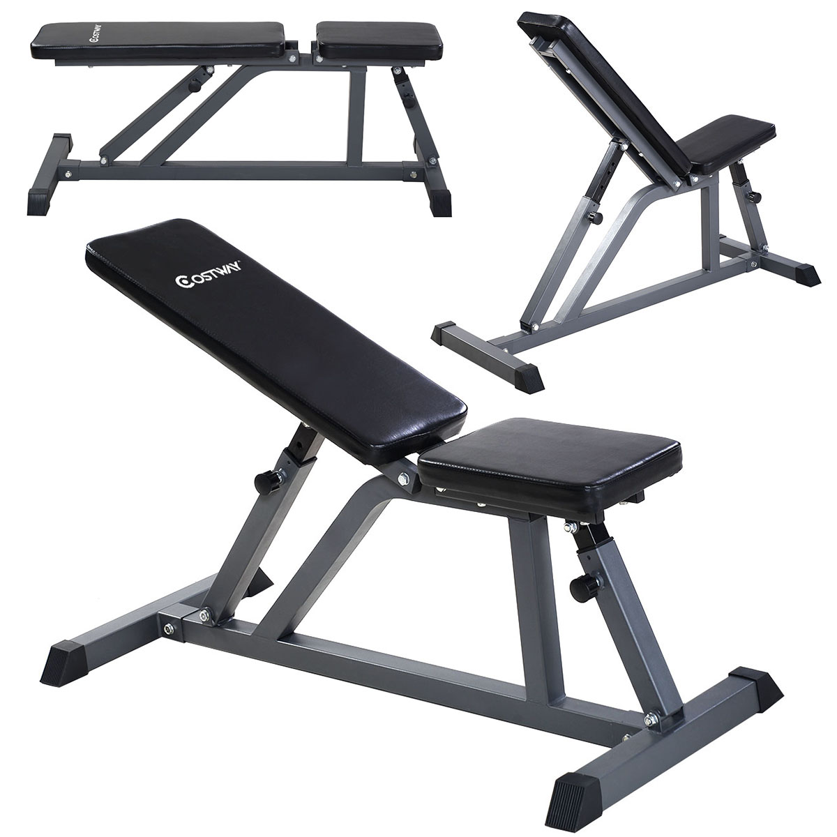 Ab Bench Part - 32: Costway Adjustable Folding Sit Up AB Incline Abs Bench Flat Fly Weight  Workout