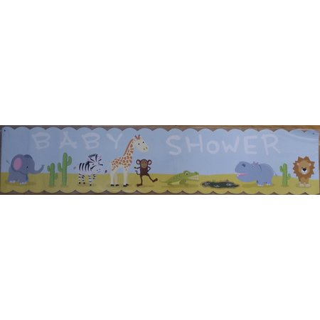 Baby Shower blue hard stock Paper Banner 36 x 8 jungle animals (2 pcs) - Baby Shower Decorations Jungle Theme