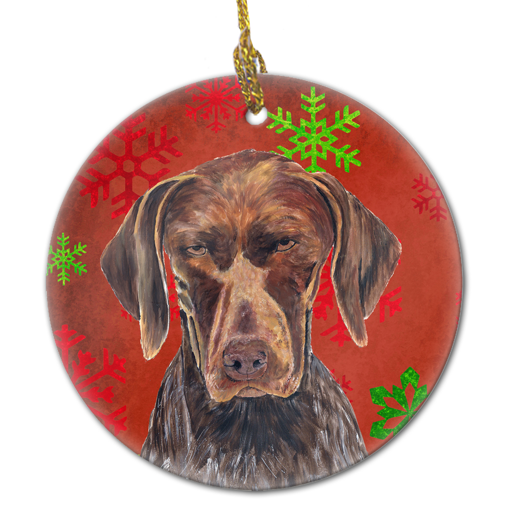 German Shorthaired Pointer Red Snowflakes Holiday Christmas Ceramic Ornament