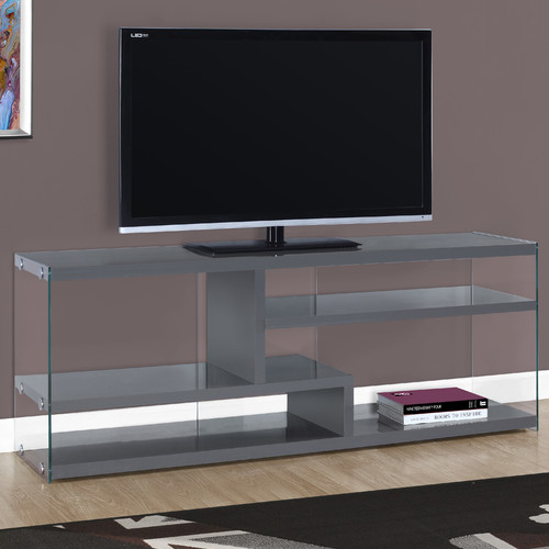 """MONARCH - TV STAND - GLOSSY WHITE WITH TEMPERED GLASS - FOR TV'S UP TO 60""""L"""