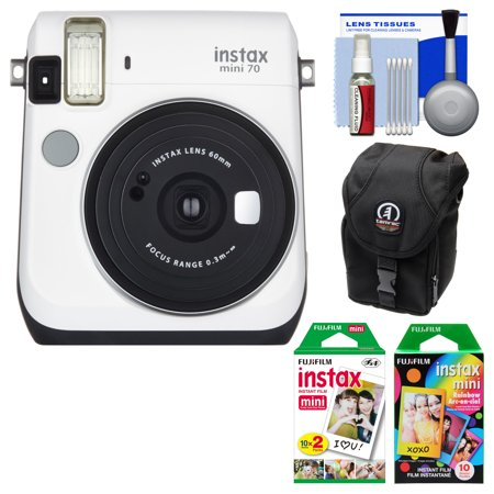 Fujifilm Instax Mini 70 Instant Film Camera (White) with 20 Twin & 10 Rainbow Prints + Case + Kit