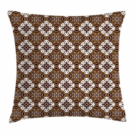 Chocolate Throw Pillow Cushion Cover, Brown Toned Ancestral Batik Pattern with Floral Indonesian Motifs, Decorative Square Accent Pillow Case, 16 X 16 Inches, Dark Brown White Brown, by