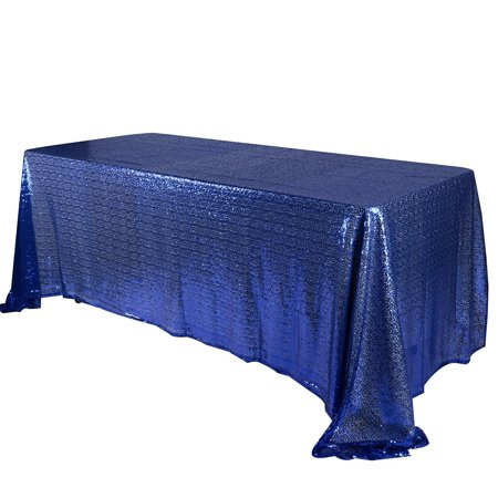 90x132 inch Rectangular Duchess Sequin Tablecloth (Navy Blue), Ship in 1 Business Day. By BBCrafts for $<!---->