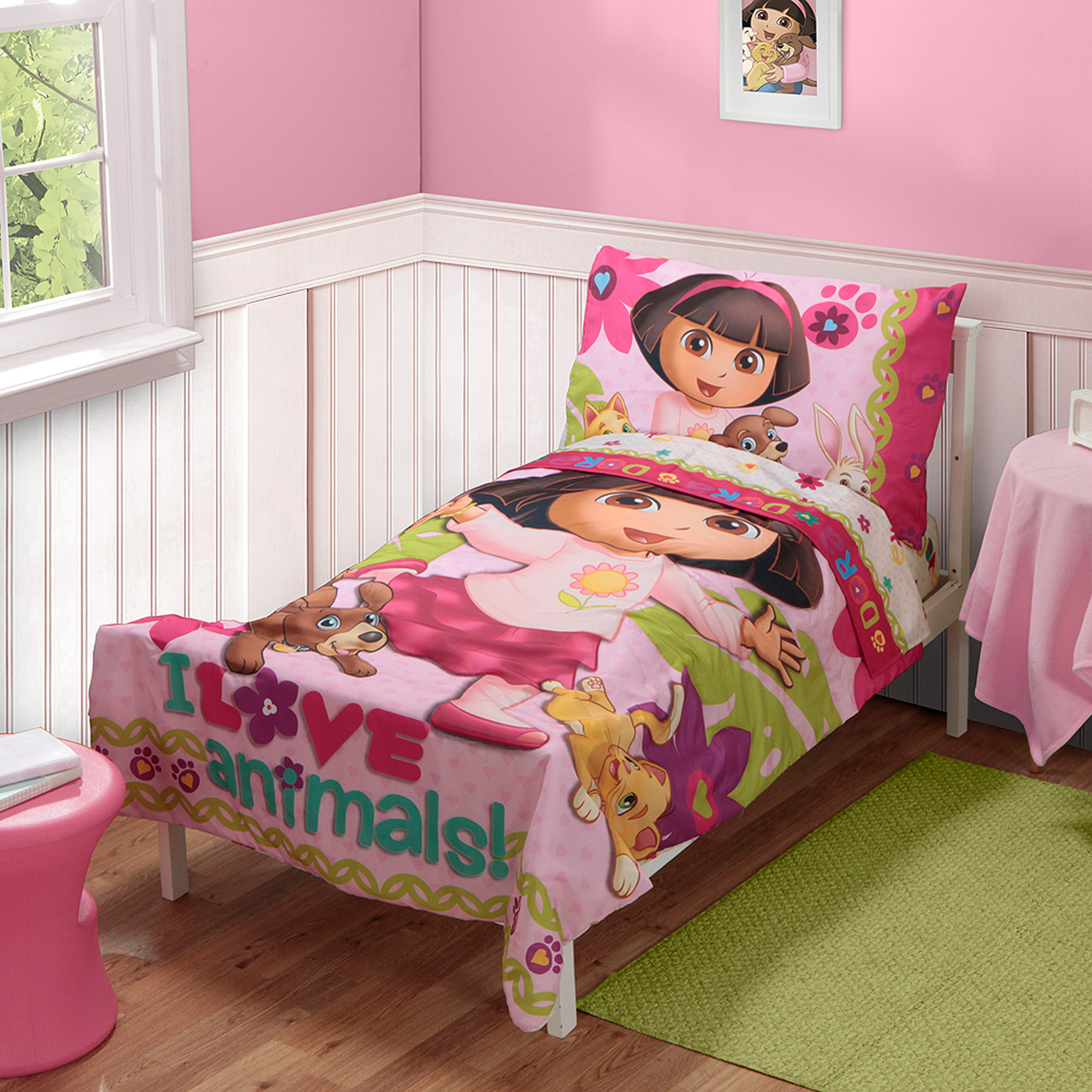 Nickelodeon - Dora the Explorer Pets 3pc Toddler Bedding Set with BONUS Matching Pillow Case