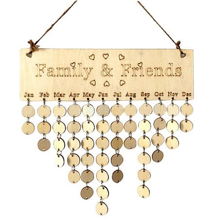Uarter DIY Wooden Calendar Birthday Reminder Board Birch Ply Plaque Sign for Family and Friends - Signs By Birthday